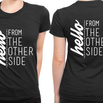 ESBH9S Adele Hello From The Other Side Quote Black 2 Sided Womens T Shirt