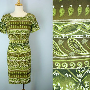 Vintage 80s Tribal Shift Dress, Green Dress, Watercolor Print Dress, 1980s Dress, Day Dress, 80s Dresses, Vintage Dresses, M L Dress