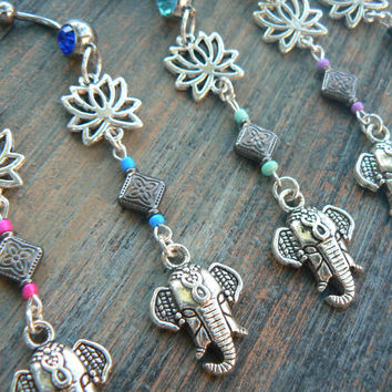 Sacred elephant belly ring  lotus flower PICK ONE zen yoga  Moroccan boho hipster new age gypsy hippie belly dancer beach and hipster style