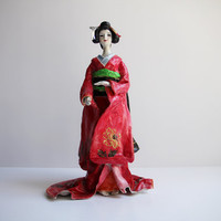 Unique Vintage Paper Mache Geisha  Figurine in Traditional Dress / Handcrafted and Hand Painted Japanese Doll / Home Decor