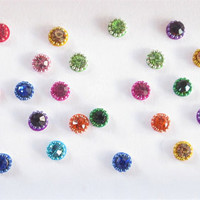 60 Sparkly Multicolor Rhinestones With Same Color Outline Eye Bindis Sticker Pack/Bindi/Fake Nose Stud/Round Sticker/Stick On Stud