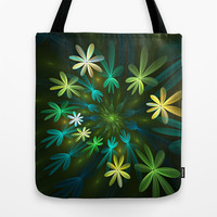 Fantasy Flowers, Fractal Art Tote Bag by Gabiw Art