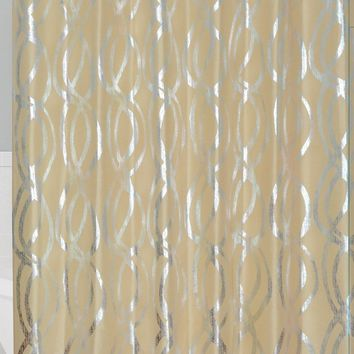 Gold Silver Metallic Sparks Faux Silk Fabric Shower Curtain With