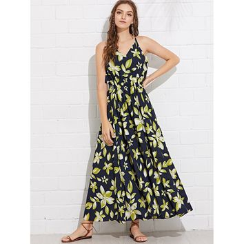 Navy Shirred Waist Floral Halter Dress