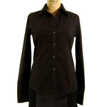 Vintage Brown Button Down Shirt - Theory Oxford Blouse Tailored Preppy Classic - Women's Size