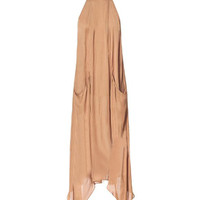 Brown Backless Asymmetrical Chiffon Dress