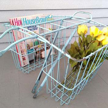 Vintage, Double, Bike, Basket, Rear Basket, Metal, Wire Basket, Robins Egg Blue, Decorative Metal Basket, Photo Prop, RhymeswithDaughter