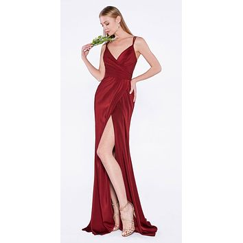 Burgundy Pleated Long Formal Dress Spaghetti Strap with Slit