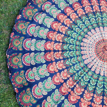 Indian Green Round Circle Roundie Mandala Peacock Tapestry Wall Hanging Throw Beach Picnic Blanket Bed Sheet < Uk SELLER >