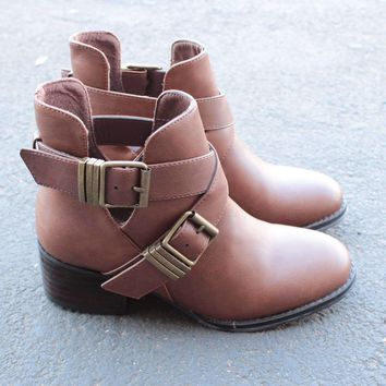 cute double buckled cut out ankle boot with stacked heels (more colors) Day-First™