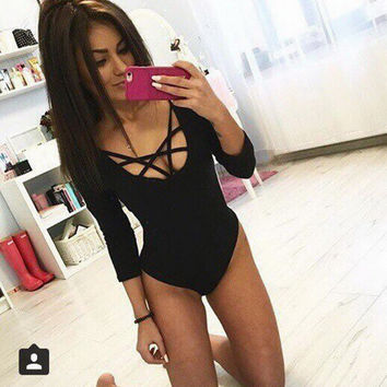 Sexy Tight Cotton Autumn Women Bodysuit XL Front Cross Pentagram Hollowed Crop Top Black White Grey Cheap-clothes-china Clothing
