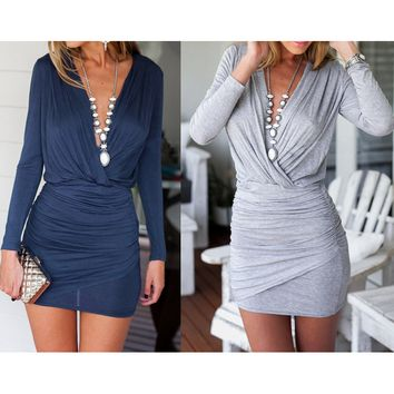 V-Neck Tight Pure Color Dress