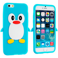Baby Blue Penguin Silicone Design Soft Skin Case Cover for Apple iPhone 6 6S (4.7)