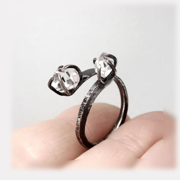 "RING ""Spider"" with Diamond. Sterling Silver. Handmade. Minimalistic, Modern, Rustic.  Promise or Engagement Ring."
