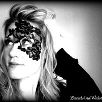 Steampunk Mask  Black Lace Mask  unique half by LacedAndWaisted