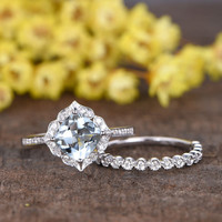 1.4 Carat Cushion Cut Aquamarine Wedding Ring Set Diamond Matching Band 14k White Gold Art Deco Bezel