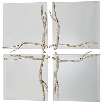 """Twig Silver Leaf 17"""" Square Wall Mirror - #47P37 