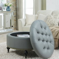 Mona PU Leather Modern Contemporary Hidden Storage Button Tufted with Gold Nailhead Trim Castered Legs Round Ottoman, Grey