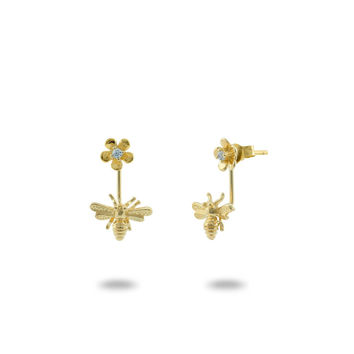 Bumble Bee & Flower 2 in 1 Earrings Gold Plated Sterling Silver
