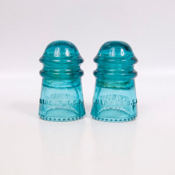 Vintage Hemingray Insulator Aqua Teal Blue Green No 9 Glass Paperweight Made in USA Set of 2