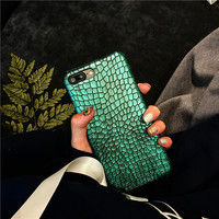Green Sequins Crocodile Skin Case for iPhone 7 7plus Luxo,Famous Brand Funda for iPhone6s plus 6 6s 6splus PU leather Case -0317