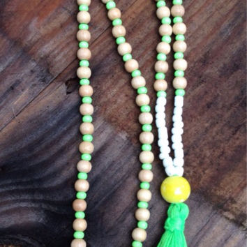 Long beaded neon green tassel necklace