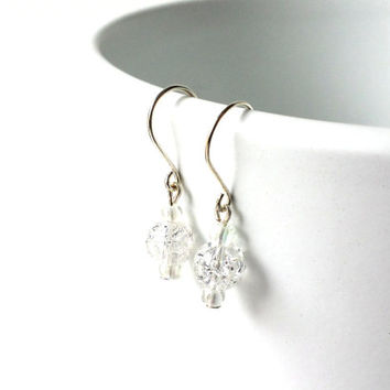 Snowy Sparkly Silver White crackle glass beaded earrings on silver plated wires