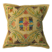 "16x16"" INDIAN VINTAGE FLORAL THROW CUSHION TOSS COTTON DECORATIVE PILLOW COVER"