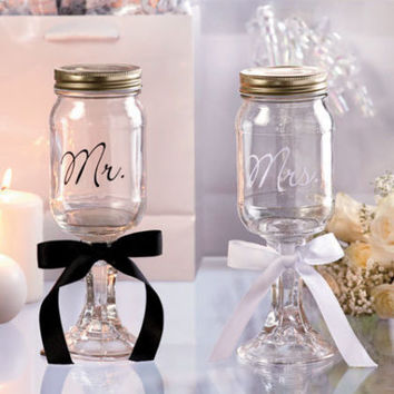 Mr & Mrs Mason Jar Goblet Set Drinking Mugs Glasses Wedding Gift Anniversary NEW