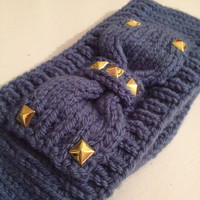 Grunge Blue Studded Knitted Headband