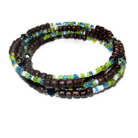 Brown, Green, White and Blue Memory Wire Wrap Bracelet with Mini Flower Beads, One Size Fits Most, Free USA Shipping