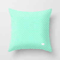 Mint Green and White Polka Dot Throw Pillow by Kat Mun | Society6