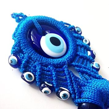 blue macrame wall hanging - Evil eye wall hanging - evil eye charm - Turkish evil eye