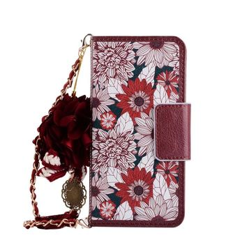 Luxury flip Purse Wallet Leather Case for iphone se 5s 6 6s plus 7 7plus Women Handbag Flower pendant shoulder chain strap cover