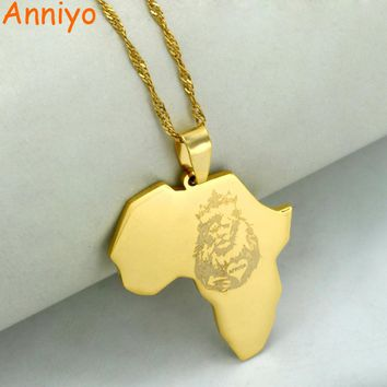 Anniyo Gold Color Africa Map With Lion Pendant With Thin Chain Necklaces African Maps Jewelry 2017 New #010821