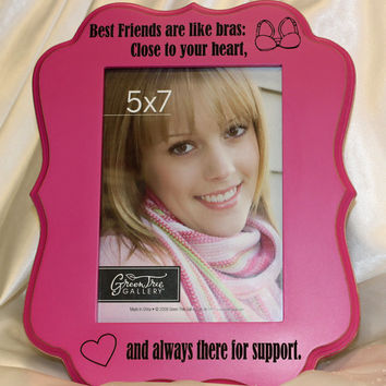 BFF picture frame,  5 x 7 table top picture frame,  best friends frame,  best friends gift,  personalized picture frame,  hot pink