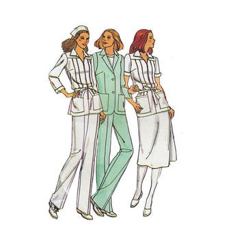 "1970's Butterick 6516 Woman's Nursing Uniform- Jacket, Top, Dress, Skirt, Pants Size 8 || Bust 31 1/2""/ 80cm 