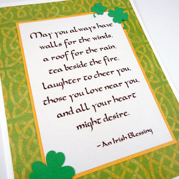 Irish Blessing Card, St. Patrick's Day Card, St. Paddy's Day, St. Patty's Day, Irish Prayer, Shamrocks, celtic knots, green gold