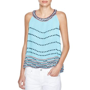 Piper by Townsen Womens Crinkled Embroidered Halter Top