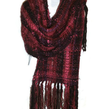 Vintage Handmade Pashmina Scarf Shawl Wrap, Weaved on Manual Loom