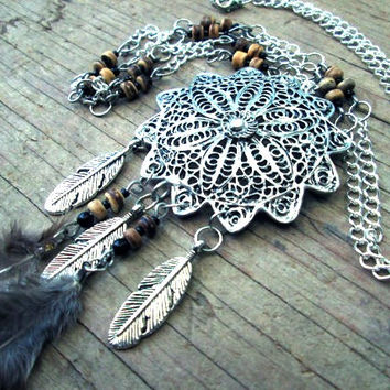 Dream Catcher necklace - Feather necklace - Bohemian jewelry - Native American inspired jewelry - Long chain necklace - Mandala necklace
