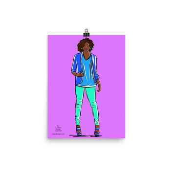 Illustrated Style Blue Jeans Photo paper poster