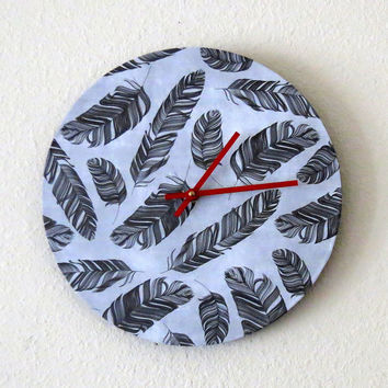 Modern Wall Clock, Decor and Housewares, Black and White Clock, Home and Living, Feather Decor, Eco Friendly Decor, Unique Gift