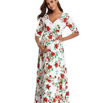 Floating Time Womens Short Sleeve Floral Print Maxi Maternity Dress