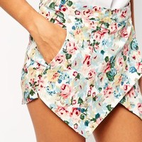 New Look Floral Print Wrap Skort