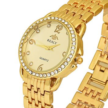 Fashion Stainless Steel Ladies Women Crystal Analog Quartz Wrist Watch