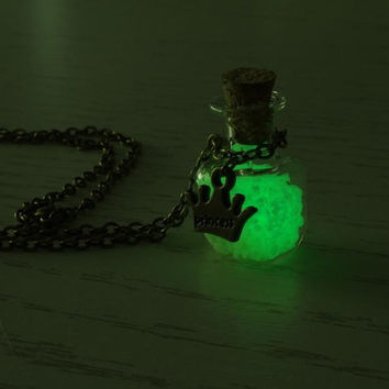 Glow in the dark Jewelry, 'Glow- in- the- dark' Necklace, Glowing Necklace, Glass bottle necklace, Glowing pendant