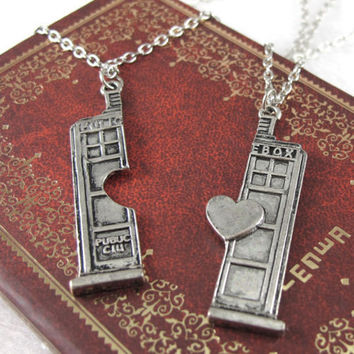 Doctor Who Tardis Police Box Heart Pendant Necklace