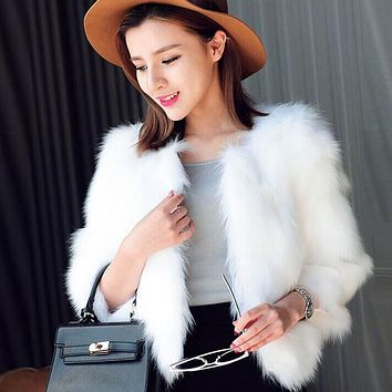 FEITONG Winter Jacket Women Fashion Faux Fur Soft Fur Coat jacket Fluffy Keep Warm Waistcoat Outerwear Plus Size Female coat