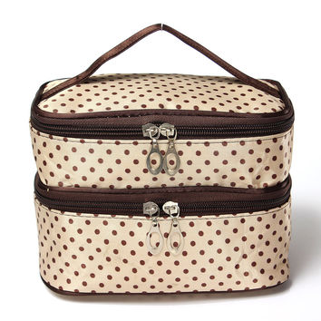 Travel Dot Makeup Cosmetic Organizer Wash Case Zip Bag With Mirror